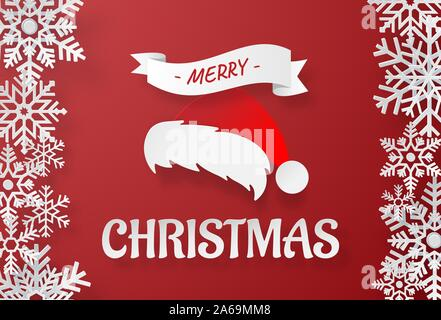 Origami paper art of Santa Claus's hat with snowflake on red background, Merry Christmas and Happy New Year - Stock Photo