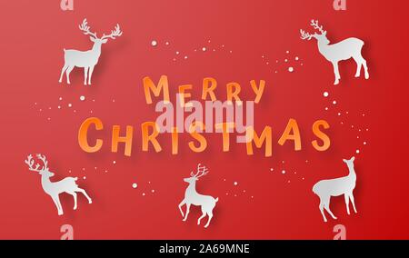 Origami paper art of Reindeer on red background, Merry Christmas and Happy New Year - Stock Photo
