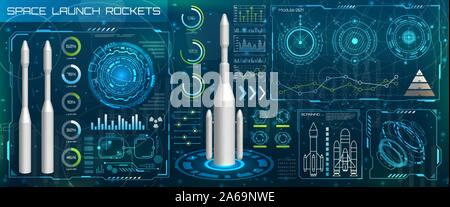 Space Launch Interface Rockets, Sky-fi HUD. Head Up Display - Illustration Vector - Stock Photo