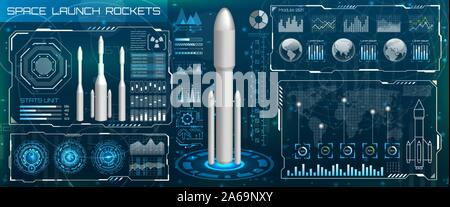 Space Launch Interface Rockets, Sky-fi HUD. Head Up Display. Template UI, Virtual Reality - Illustration Vector - Stock Photo