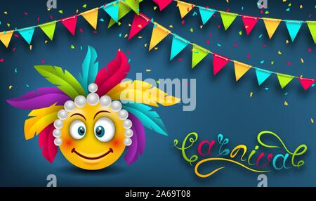 Happy Carnival Festive Banner, Smile Emoji, Lettering Text - Illustration Vector - Stock Photo