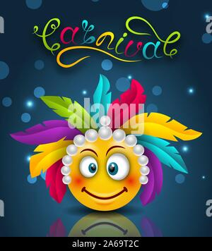 Happy Carnival Festive Lettering, Smile Emoji with Feather Headdress - Illustration Vector - Stock Photo