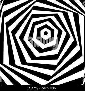 Optical art. Geomrtric black and white abstract illusion. Vector.