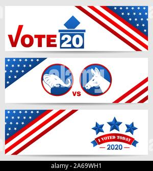 Presidential Election 0f USA 2020. Vote, Voting. Set American Advertising Banners - Illustration Vector - Stock Photo