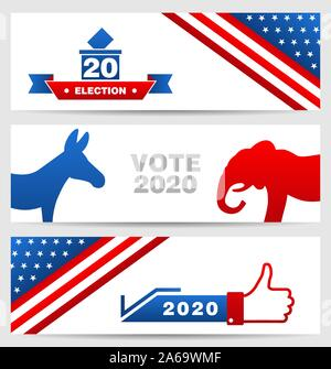 Presidential Election 0f USA 2020. Vote, Voting. Set American Advertising Cards - Illustration Vector - Stock Photo