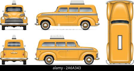 Retro taxi cab vector mockup on white background for vehicle branding, corporate identity and advertisement, easy editing and recolor - Stock Photo