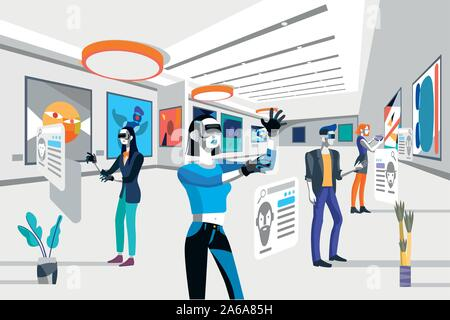 Cool people looking modern abstract paintings in art exhibition wearing augmented reality technology devices. Vector flat illustration. Men and women - Stock Photo