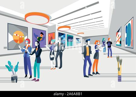 Cool people looking modern abstract paintings in art exhibition. vector flat illustration. Men and women at the museum of arts. - Stock Photo