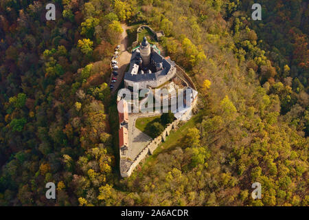 FALKENSTEIN, SAXONY-ANHALT, GERMANY - OCTOBER 24, 2019: Aerial view of medieval Falkenstein Castle in the Harz mountains above the Selke valley. - Stock Photo