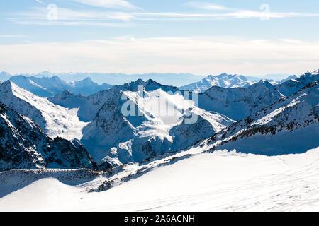 Snowy mountain landscape. Beautiful scenic view of mount. Alps ski resort. Austria, Stubai, Stubaier Gletscher - Stock Photo