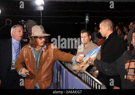 WESTWOOD, CA - FEBRUARY 14: Johnny Depp at the Los Angeles premiere of 'Rango' held at Regency Village Theatre on February 14, 2011 in Westwood, California  People:  Johnny Depp - Stock Photo