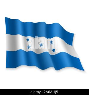 3D Realistic waving Flag of Honduras on white background - Stock Photo