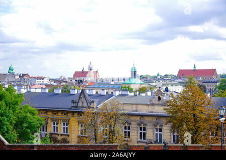 Cityscape view of Krakow city from Wawel Royal Castle on Wawel Hill, Poland - Stock Photo