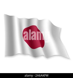 3D Realistic waving Flag of Japan on white background - Stock Photo
