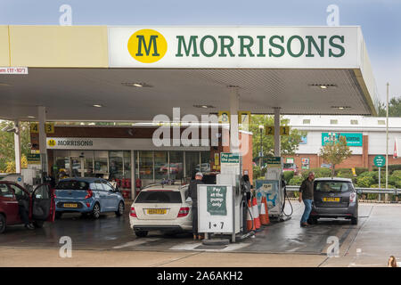 Morrisons,Petrol,Station,Fuel,Service,Station,Diesel,Pumps,Shop - Stock Photo