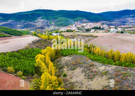 Village and countryside drone view. - Stock Photo