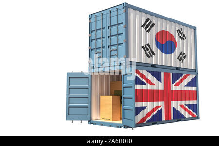 Two freight container with South Korea and United Kingdom flag. Isolated on white - 3D Rendering - Stock Photo
