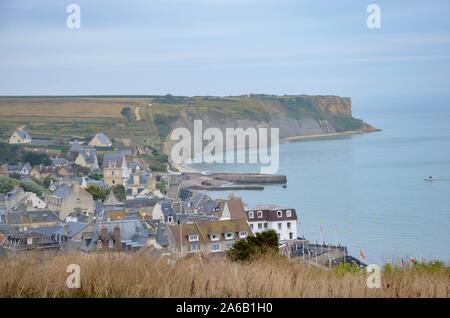 The community of Arromanches-les-Bains in Normandy, France, one of the allied landing places (Gold Beach) on D-Day, Calvados county, English Channel - Stock Photo