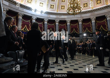 Washington DC, USA. 24th Oct, 2019.  Congressional leadership arrive for a memorial ceremony for US Representative Elijah Cummings (Democrat of Maryland) in National Statuary Hall at the United States Capitol on Thursday October 24, 2019 in Washington, DC. Credit: ZUMA Press, Inc./Alamy Live News - Stock Photo