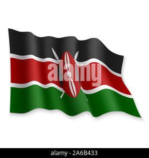 3D Realistic waving Flag of Kenya on white background - Stock Photo