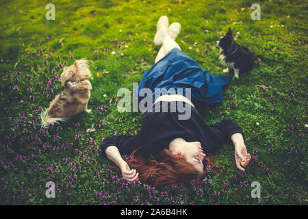 Beautiful redhead young woman lying on the grass, touching flowers, dogs at her sides. Outdoor portrait. Stock Photo