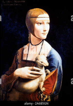 Portrait of Cecilia Gallerani (lady with an ermine) by Leonardo da Vinci (1452-1519)  1489 - 1490 oil on wood, cm 55 x 40 - Stock Photo