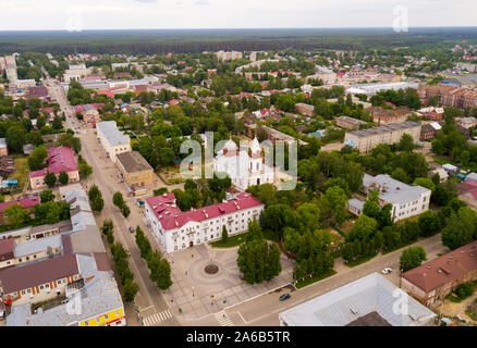 Panoramic aerial view of  district of Gus-Khrustalny, Vladimir region, Russia - Stock Photo