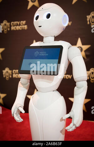 BRATISLAVA, SLOVAKIA - OCT 25, 2019: Robot Pepper assistant with information screen in duty at the mall in Bratislava, Slovakia