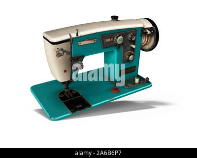 Blue old electric sewing machine falls on the floor 3d render on white background with shadow - Stock Photo