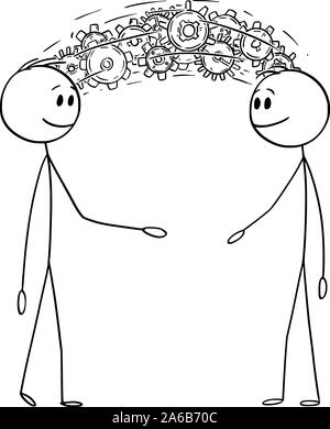 Vector cartoon stick figure drawing conceptual illustration of two men or businessmen sharing knowledge and information or brainstorming concept. - Stock Photo