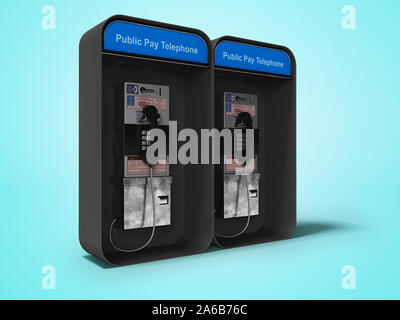 Telephone booth double 3d render on blue background with shadow - Stock Photo