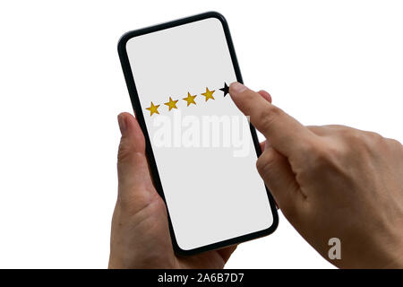 User rating service evaluates the mobile app or on the website, isolated on white background - Stock Photo