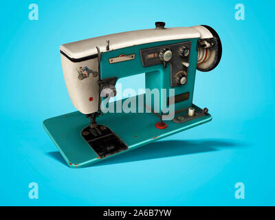 Blue old electric sewing machine falls on the floor 3d render on blue background with shadow - Stock Photo