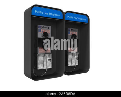 Telephone booth double 3d render on white background no shadow - Stock Photo