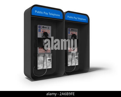 Telephone booth double 3d render on white background with shadow - Stock Photo