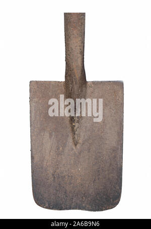 old rusty spade isolated on white background - Stock Photo