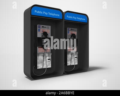 Telephone booth double 3d render on gray background with shadow - Stock Photo