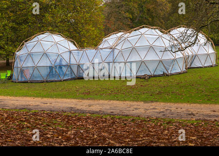 Poole, Dorset UK. 25th Oct 2019. Opening day for people to visit Michael Pinsky's Pollution Pods on Brownsea Island to experience the air quality, smell and temperature of five cities - London, Sao Paulo, Tautra, Beijing & New Delhi.  Visitors get to feel the sensation of breathing toxic air, with no risk to their health as they walk through a series of domes, that millions worldwide are faced with daily. The event is a collaboration between Activate & Cape Farewell, hosted by National Trust, engaging with local children and students about climate.  Credit: Carolyn Jenkins/Alamy Live News - Stock Photo
