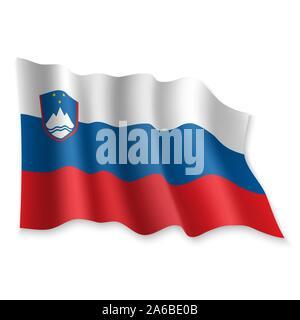 3D Realistic waving Flag of Slovenia on white background - Stock Photo