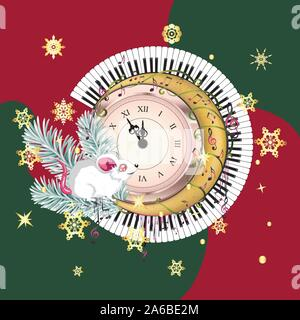 Cute cartoon white mouse or rat with retro clock, fir tree branches and music notes, New Years greeting design. - Stock Photo