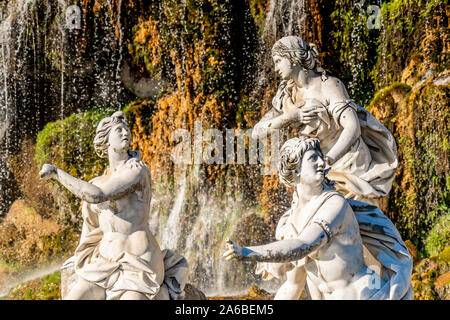 Royal Palace of Caserta Italy, The Diana e Attenone Fountain, Represent Diana, goddess of hunting, surrounded by nymphs, Reggia di Caserta, Italy. UNESCO World Heritage - Stock Photo