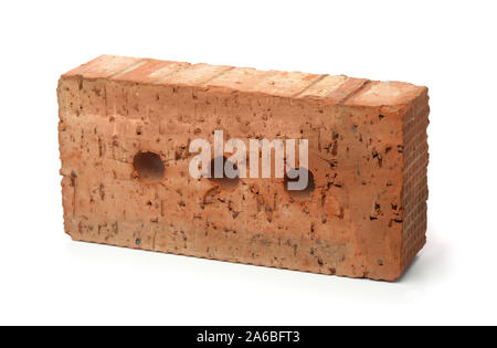 Single rough red clay  brick isolated on white - Stock Photo