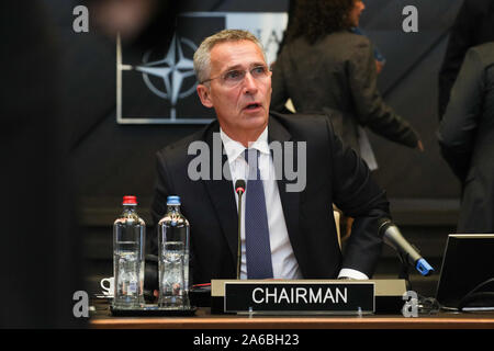 Brussels, Belgium. 25th Oct, 2019. NATO Secretary General Jens Stoltenberg speaks at the meeting of the North Atlantic Council in Defence Ministers' session at the NATO headquarters in Brussels, Belgium, Oct. 25, 2019. Credit: Zheng Huansong/Xinhua/Alamy Live News - Stock Photo