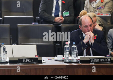 Brussels, Belgium. 25th Oct, 2019. British Defense Secretary Ben Wallace attends the meeting of the North Atlantic Council in Defence Ministers' session at the NATO headquarters in Brussels, Belgium, Oct. 25, 2019. Credit: Zheng Huansong/Xinhua/Alamy Live News - Stock Photo
