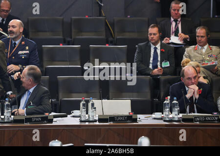 Brussels, Belgium. 25th Oct, 2019. Delegates attend the meeting of the North Atlantic Council in Defence Ministers' session at the NATO headquarters in Brussels, Belgium, Oct. 25, 2019. Credit: Zheng Huansong/Xinhua/Alamy Live News - Stock Photo