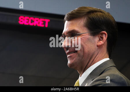 Brussels, Belgium. 25th Oct, 2019. U.S. Secretary of Defense Mark Esper attends the meeting of the North Atlantic Council in Defence Ministers' session at the NATO headquarters in Brussels, Belgium, Oct. 25, 2019. Credit: Zheng Huansong/Xinhua/Alamy Live News - Stock Photo