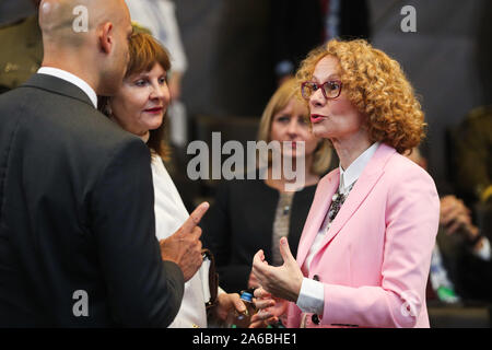 Brussels, Belgium. 25th Oct, 2019. North Macedonia's Defense Minister Radmila Sekerinska (R) attends the meeting of the North Atlantic Council in Defence Ministers' session at the NATO headquarters in Brussels, Belgium, Oct. 25, 2019. Credit: Zheng Huansong/Xinhua/Alamy Live News - Stock Photo