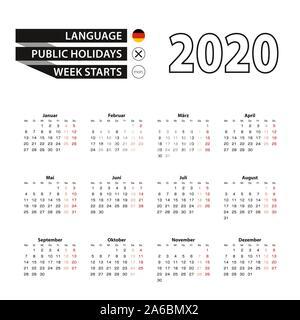 Calendar 2020 in German language, week starts on Monday. Vector calendar 2020 year. - Stock Photo