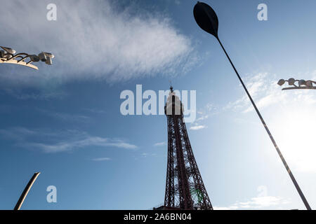 Blackpool Tower on a sunny day with blue skies. - Stock Photo