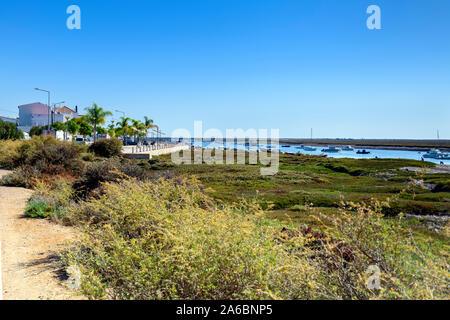 Ria formosa at Santa Luzia, Algarve, Portugal. - Stock Photo